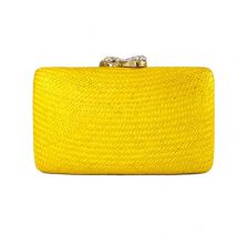 Yellow Jen Clutch With White Stone Clasp | KAYU Design