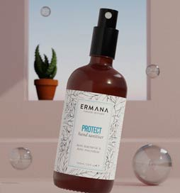 Ermana's Protect Hand Sanitiser is made with pure essential oils and aloe vera to protect your hands from the drying effects of alcohol. This formula has not only both anti bacterial and anti microbial properties but also soothes and nourishes the skin... Only at ilovedesigner.com